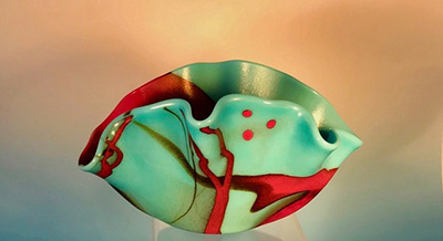 Contemporary Bowl/Vase in Turquoise and Red